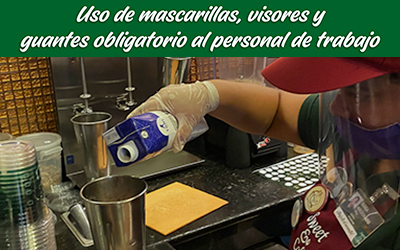 bioseguridad locales sweet&coffee mascarillas guantes visores personal trabajo