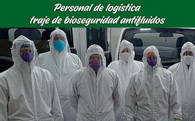 bioseguridad planta traje antifluídos personal logística